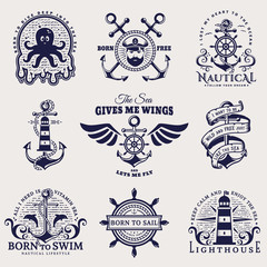 Sea and nautical emblems. Vector illustration.