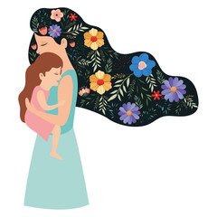 mother lifting daughter with floral pattern in the hair vector illustration design