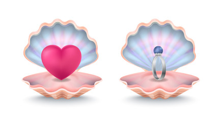 Shells with Ring with Pearl and Big Pink Heart