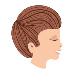 cute little son head avatar character vector illustration design