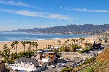 View of Santa Monica beach and Pacific Coast highway in southern California.