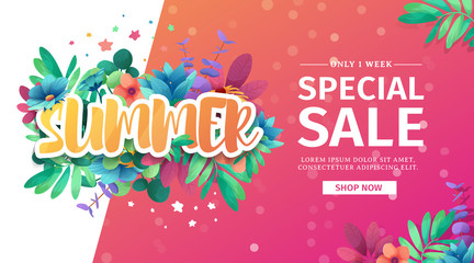 Template design banner for summer offer. Special sale flyer advertising with floral frame and flower summer logo. Web offer on pink background. Vector