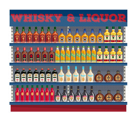 Supermarket shelf display with whisky and liquors.