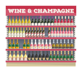 Supermarket shelf display with wine and champagne.