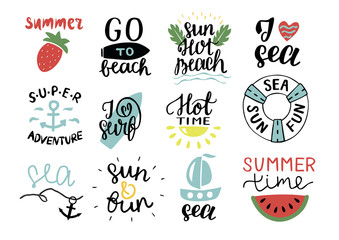 Set of 12 summer logo with hand lettering Hot time, I love surf, Sea, Go to beach, Super adventure, Sun.