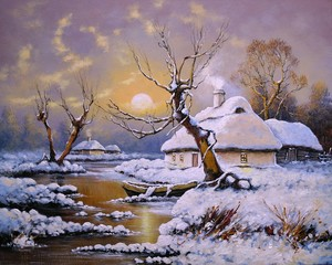 Oil paintings rural landscape, winter, old village, fine art.