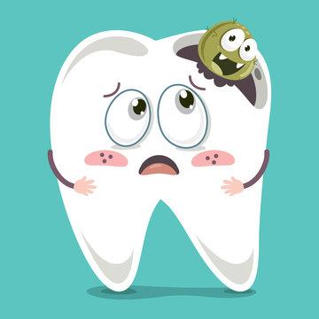 Vector Illustration Of Cartoon Tooth