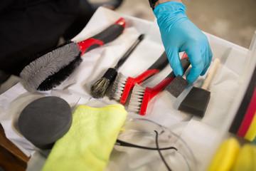 Detail of brushes for polishing vehicles