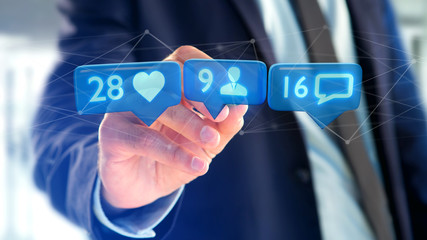 Businessman holding a Like, Follower and message notification on social network - 3d render