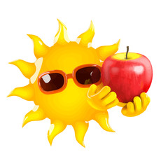 Vector 3d Cartoon sun character holding a juicy red apple