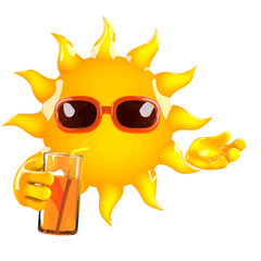 Vector 3d Cartoon sun character drinking a cool drink