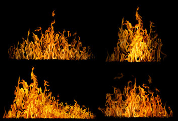 set of high yellow flames isolated on black