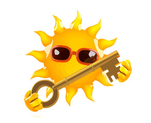 Vector 3d Cartoon sun character holding a gold key