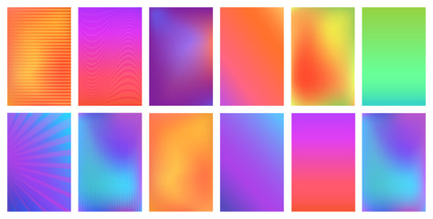 Creative vector bright vivid gradient set for any modern design. Invitation, greeting card, flyer, banner.