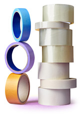 Many rolls BOPP and paper adhesive tape  on  white background.