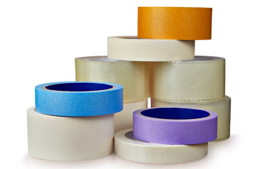 Rollers Scotch tape for various purposes in general heap.