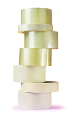 Tower of tape self adhesive bopp on  white background.