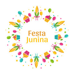 Festa Junina illustration. Festive round frame design with corn, cupcakes and balloons