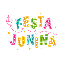 Design of the inscription Festa Junina with a kite
