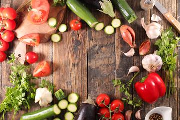 Fotobehang - raw vegetable, cooking concept