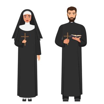 Vector Catholic priest and nun holding cross rood.