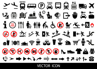 Set of public icons on white background. Vector illustration.