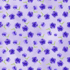 Watercolor blackberry seamless pattern