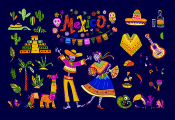 Big vector set of mexico elements, skeleton characters, animals in flat hand drawn style isolated on dark background. Icons for fiesta, celebration, national pattern, decoration, traditional food.