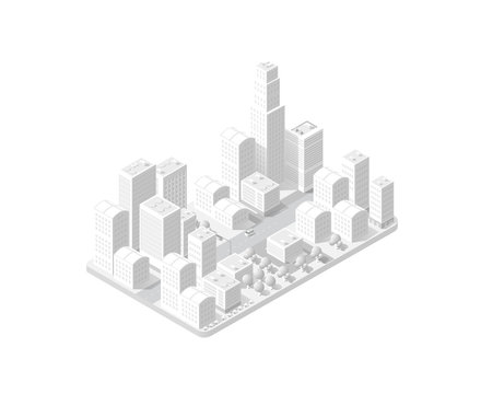 3d map of the city on white design street town buildings modern urban house and skyscrapers. Vector isometric illustration of flat style for concept business background.