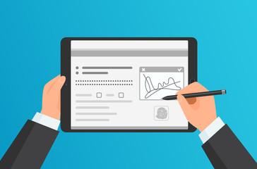 Businessman Hands signing Digital signature on modern tablet. Vector concept.
