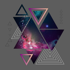 Abstract hipster polygonal triangle background with open space inside.