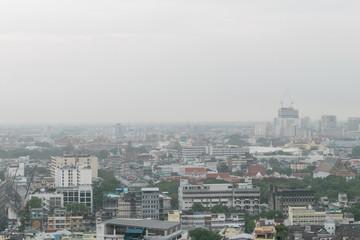 bangkok city building in the raining day