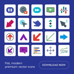 Modern Simple Set of arrows, charts, video, cursors Vector flat Icons. Contains such Icons as  video, left,  scroll,  up,  button,  diagram and more on blue background. Fully Editable. Pixel Perfect