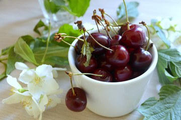 cherry in the сup on the table