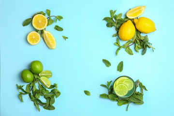 Flat lay composition with delicious natural lemonade on color background