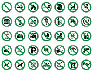35 Verbots- & Warnschilder (Grün)
