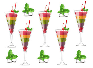 Exotic fruits cocktail pattern Vector realistic. Layers of different fruits strawberry, blueberry, kiwi, orange, cherry. ice cubes