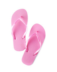 Bright flip flops on white background. Beach object