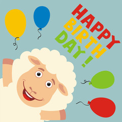 Happy birthday! Greeting card with funny sheep and balloons in cartoon style.