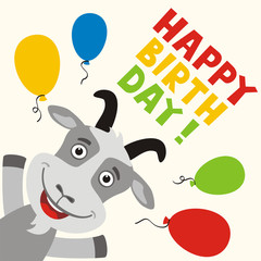 Happy birthday! Greeting card with funny goat and balloons in cartoon style.