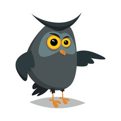 Angry owl.Vector illustration for web.Flat style.