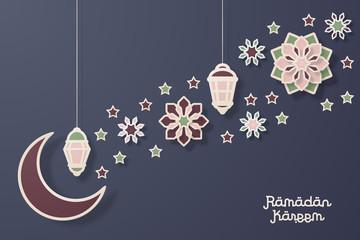 Ramadan kareem design background. Paper cut flowers, traditional lanterns, moon and stars. Vector illustration.4
