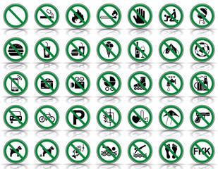 35 Verbots- & Warnschilder (in Grün)