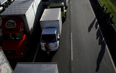 Truck owners block the BR-116 during a protest against high diesel prices in Guapimirim near Rio de Janeiro