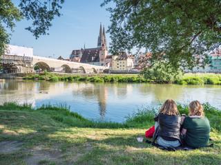 An der Donau in Regensburg