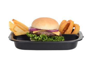 isolated hamburger tv dinner