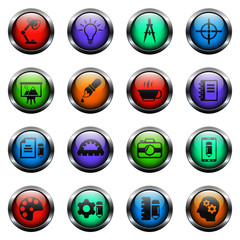 creative process vector icons on color glass buttons