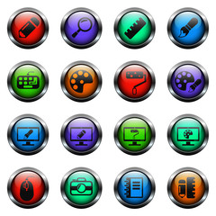design vector icons on color glass buttons