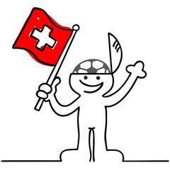 Fussballfan mit Schweizerfahne