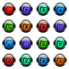 folder vector icons on color glass buttons